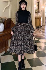 #590实拍实价(有内里)赫本风碎花连衣裙新款收腰显瘦拼接长裙