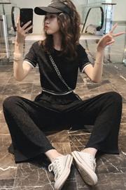 chic港味套装夏2021气质女神范短款T恤高腰坠感阔腿裤御姐两件套