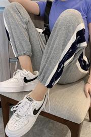 实拍9955#运动裤女2021春秋季薄款韩版宽松束脚卫裤休闲哈伦裤子