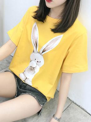 125#实拍(已出货)纯棉卡通小白兔短袖T恤女(100棉)