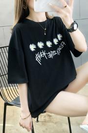 【实拍6535棉】2020新款韩版ins潮小雏菊刺绣印花中长款修身T恤女