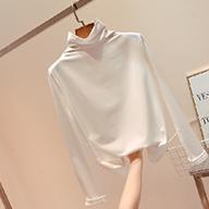 1830#高领打底衫女秋冬长袖t恤白色内搭紧身百搭加厚小衫上衣