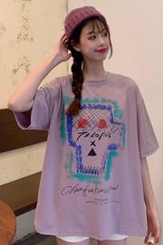329#(6535棉 实拍) 韩版学生原宿风短袖大码T恤女