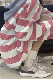 3301#【官图】【鱼鳞】条纹拼接ins连帽卫衣女韩版外套