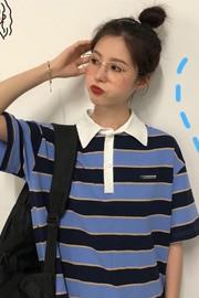 6073#短袖T恤女装夏装新款韩版网红POLO衫宽松条纹上衣