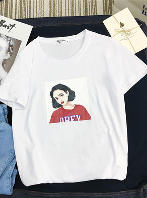3105#复古港风体恤卡通少女圆领体恤衫休闲女装上衣韩风显瘦大码