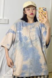 540#(实拍图65/35拉架棉)数码扎染短袖T恤女宽松印花涂鸦超火cec