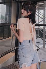 实拍 已检测 蝴蝶结系带曲珠针织短袖女2019夏装修身百搭ins半袖