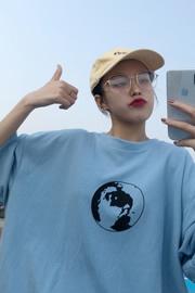 7733【新款 实拍】四色夏季新款韩版宽松菊花印花上衣女短袖T恤