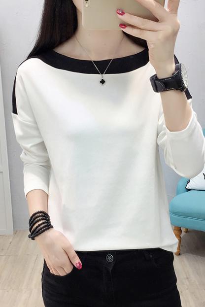 710#(已出货)2019纯棉拼色长袖打底衫大码T恤女 (95棉 5氨纶)