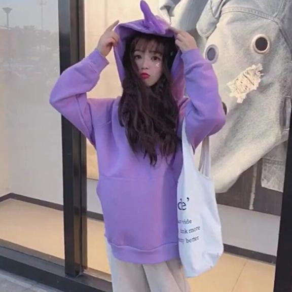(官方图250克)新款秋冬韩版连帽加绒加厚套头天线宝宝卫衣女