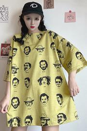 8042#【6535棉实拍】短袖网红t恤女ins潮大码中长款衣服可爱上衣