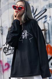 实拍6535拉架棉   2018新款上衣慵懒宽松韩版学生bf绣花长袖T恤女