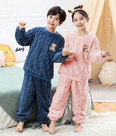 秋冬提花绒儿童睡衣加厚加绒法兰绒睡衣宝宝家居服大童睡衣暖和