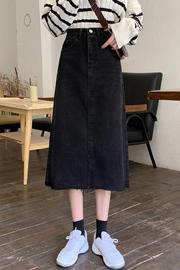 5271#【官方图实价】2021中长款chic毛边A字牛仔半身裙女装裙子