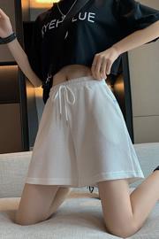实拍3004(华夫格)运动短裤女夏宽松高腰学生中裤休闲阔腿三分裤