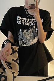 8190#(官图/6535棉/实价)夏季女ins复古印花半袖宽松中长款上衣