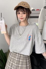 6056实拍【6535棉】新款韩版原宿风宽松学生港风ins短袖T恤女