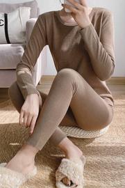 实拍 保暖内衣女修身自发热圆领女套装打底衫打底裤套装
