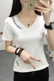 实拍#2019夏季新款字母纯棉打底衫V领修身上衣短袖T恤女韩版小衫
