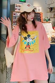2024#(实拍+视频)6535拉架棉夏季潮流卡通印花米奇女短袖T恤