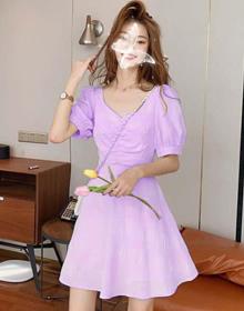 法式桔梗初恋甜美小个子心机裙子泡泡袖露背2021新款连衣裙女夏装