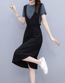 中长宽松显瘦欧洲站夏季2021年新款假两件背带裙时尚休闲连衣裙女
