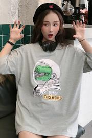 319#(6535棉)实拍 怪味少女港风恐龙短袖女T恤
