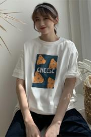 539#(实拍图65/35拉架棉)短袖T恤女宽松奶酪印花超火cec大码ins潮