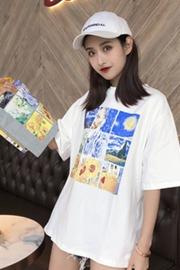 6535精梳棉 2019新款韩版卡通印花圆领t恤女