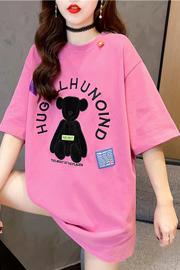 实拍8710#日韩版刺绣贴布夏季新款中长款短袖T恤女潮宽松INS上衣