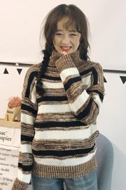秋冬女装韩版宽松撞色条纹高领加厚网红套头针织衫毛衣上衣外套潮