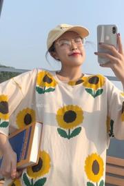 7737【新款 实拍】向日葵夏季新款韩版宽松印花上衣女短袖T恤