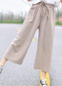 森女韩版学生九分裤百搭阔腿裤子2018夏新款冰丝系带宽松女裤