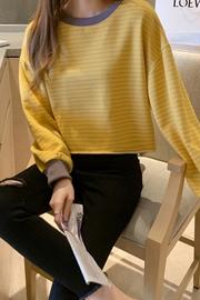 6005#【实拍 6535鱼鳞】插色条纹短款卫衣女2020宽松长袖t恤上衣