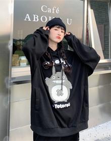 6065#【实拍 6535鱼鳞布】日系卫衣女刺绣卡通韩版连帽慵懒风帽衫