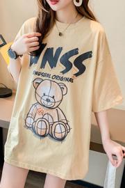 8822#实拍纯棉卡通气质中长款ins潮网红小熊短袖t恤32支95棉5氨纶