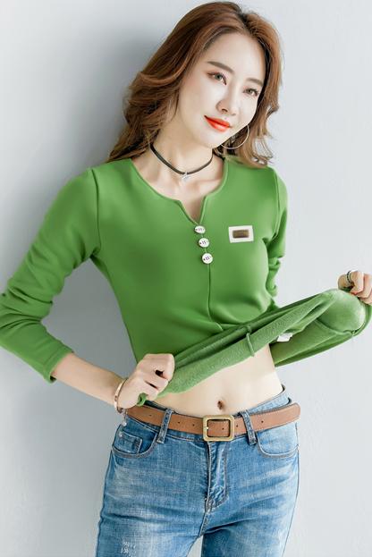 2498#秋冬装大码女装新款韩范修身长袖t恤打底衫加绒(30%棉)