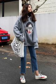官方图大卫衣布250克全涤双层帽字母印花连帽套头卫衣韩版学生潮