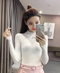 9001#实拍包芯纱 秋冬装新款韩版高领针织衫女学生百搭打底衫纯色