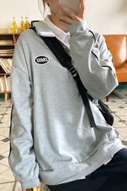 512#【实拍 6535薄卫衣】卫衣女宽松慵懒风原宿风长袖POLO领上衣