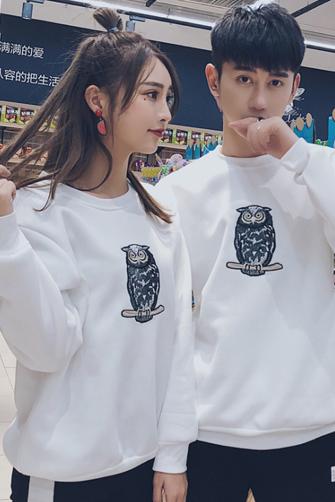 【实拍】210# 秋冬男女新款韩版情侣装宽松圆领加绒卫衣外套班服