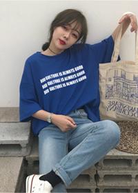 【好质量】2019新款韩版宽松帅气短袖女t恤女网红同款蓝色体恤
