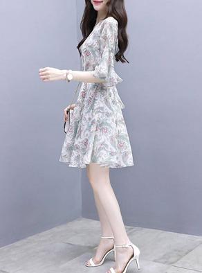 2019新款连衣裙女夏装新款短袖气质夏天长裙子印花洋气显瘦裙