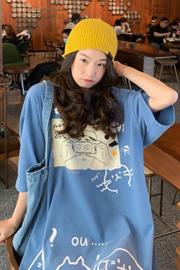 563#(实拍图65/35拉架棉)短袖T恤女宽松创意相机印花ins潮
