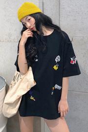 696#实拍【6535拉架棉】大阪宽松重工刺绣卡通短袖t恤女