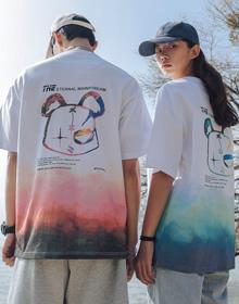 【26支棉大版】新款夏季渐变宽松大码扎染短袖t恤情侣装衣服ins潮牌
