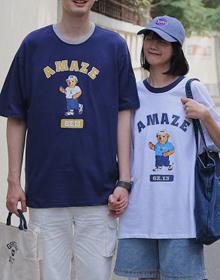 874#【官方图】韩国东大门小熊情侣装T恤男女宽松日系港风短袖上衣