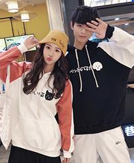 A59#(实拍 250克加绒卫衣)韩国秋冬学生撞色拼接港风卫衣情侣外套