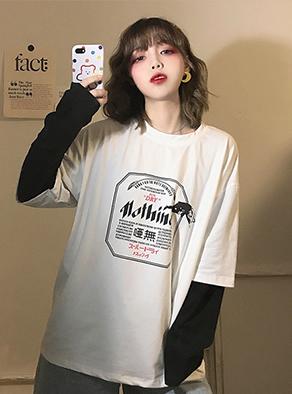 1388#【实拍图】6535棉 假两件拼接长袖t恤女